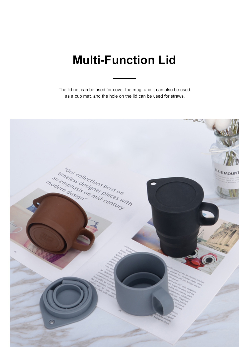 Silicone Folding Mug Cup Collapsible Silicone Coffee Cup with Free Straw Lid for Hiking Camping Travelling 2