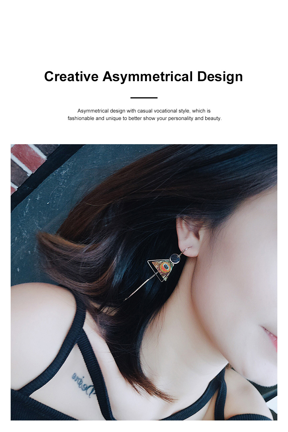 Elegant Holiday Earrings for Women Vocation Style Asymmetrical Earrings with Daisy Peacock Feather Pattern 3