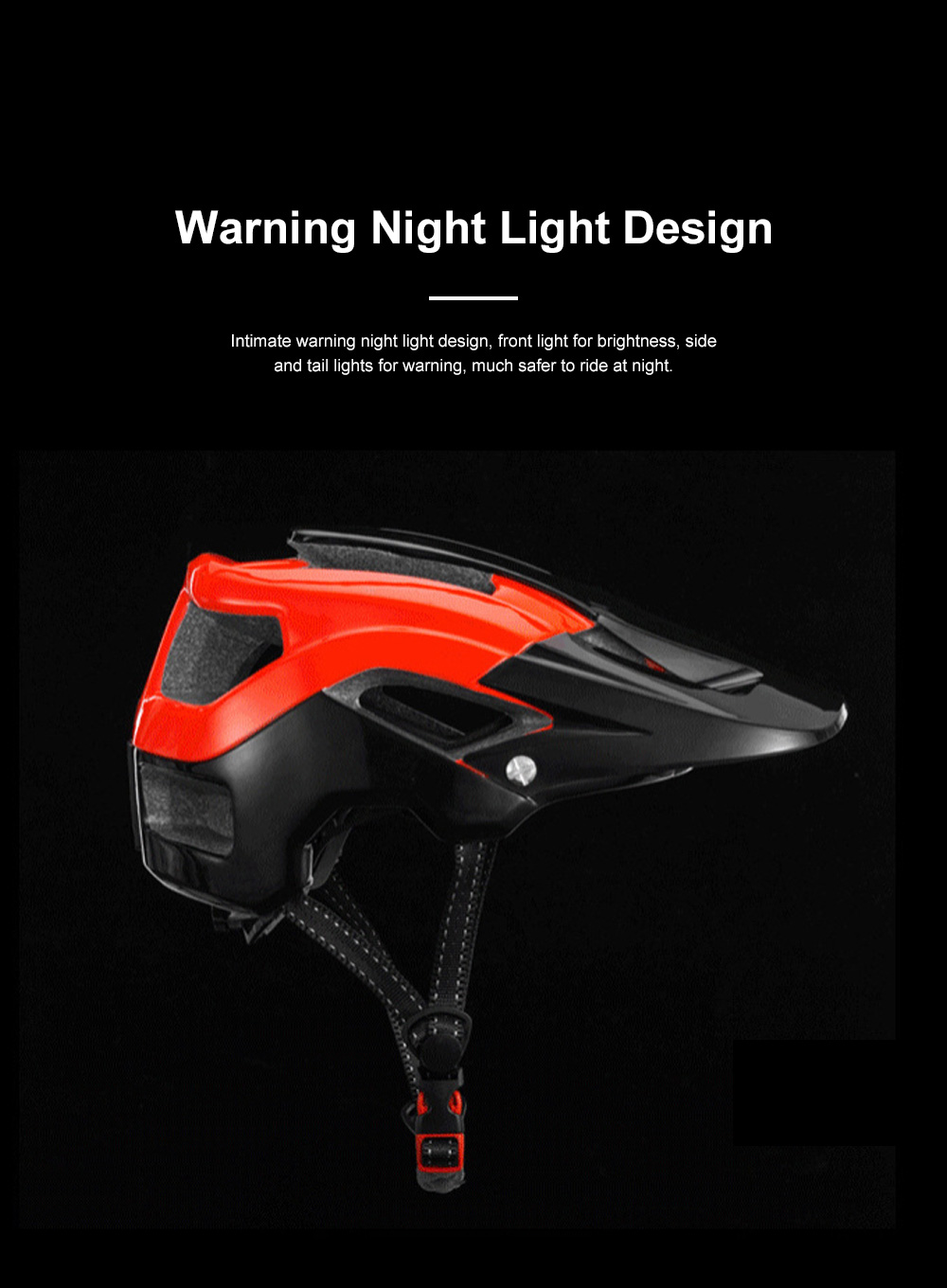 ROCKBROS Shockproof Bike Helmet with Warning Night Light Breathable Bike Cycle Helmets for Adults with Adjustable Headlight 2