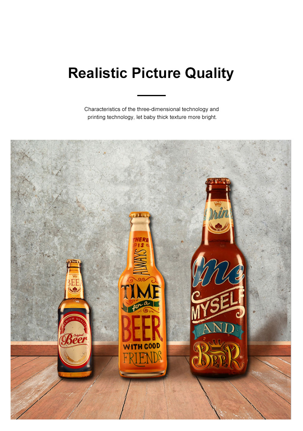 Iron Beer Bottle 3D Hanging Wall-mounted Painting Three-Dimensional Beer Bottle for Cafe Restaurant Decoration Home Art Painting 3