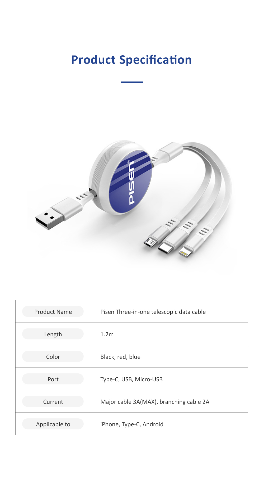 PISEN Three-in-one Telescopic Data Cable Quick Charge Type-c Data Line Compatible with Android, iPhone Multifunctional Power Line 6