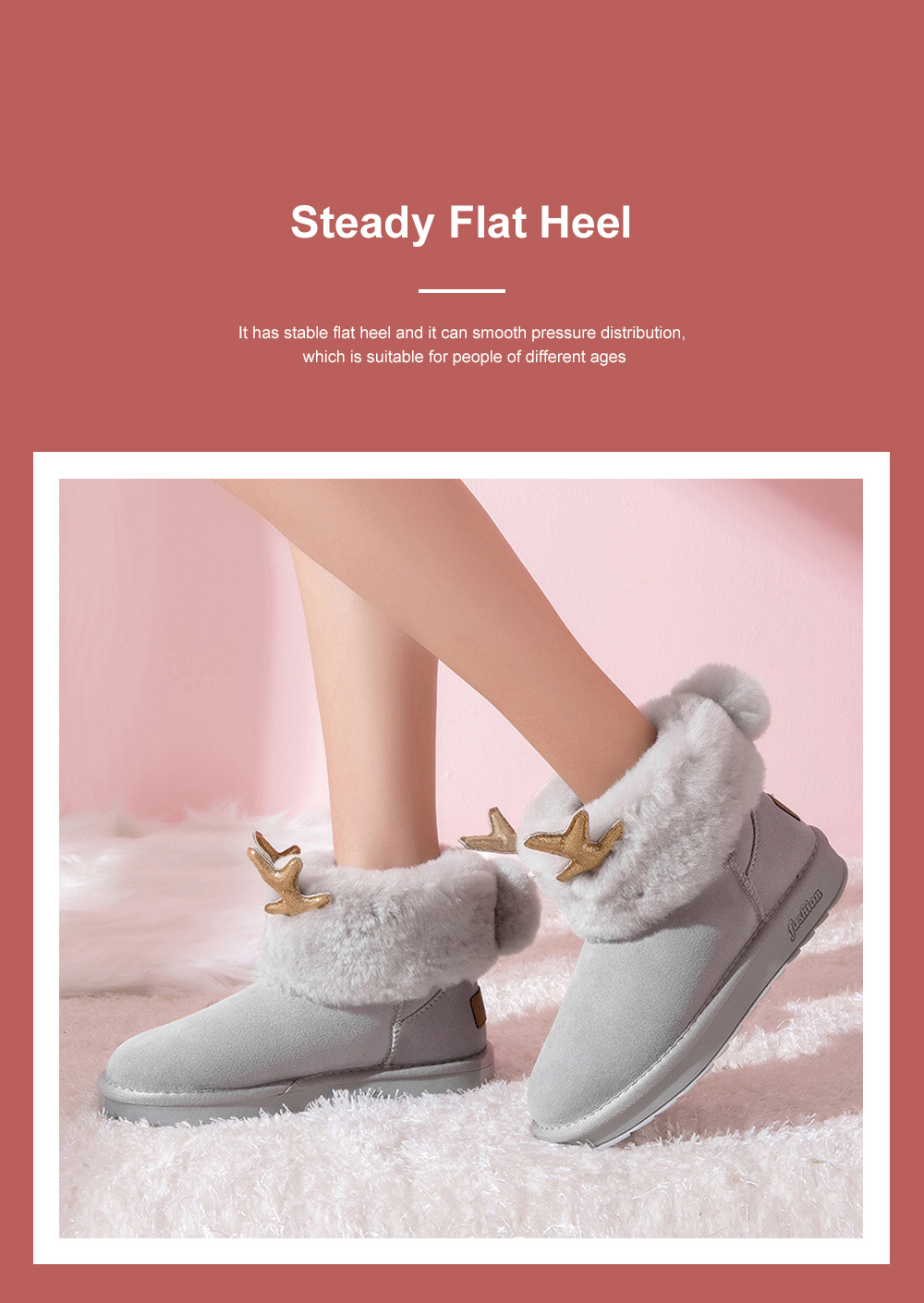 2019 Love Elk Antlers Boots Faux Fur Lining Suede Ankle Winter Warm Snow Boots For Women Ladies 4
