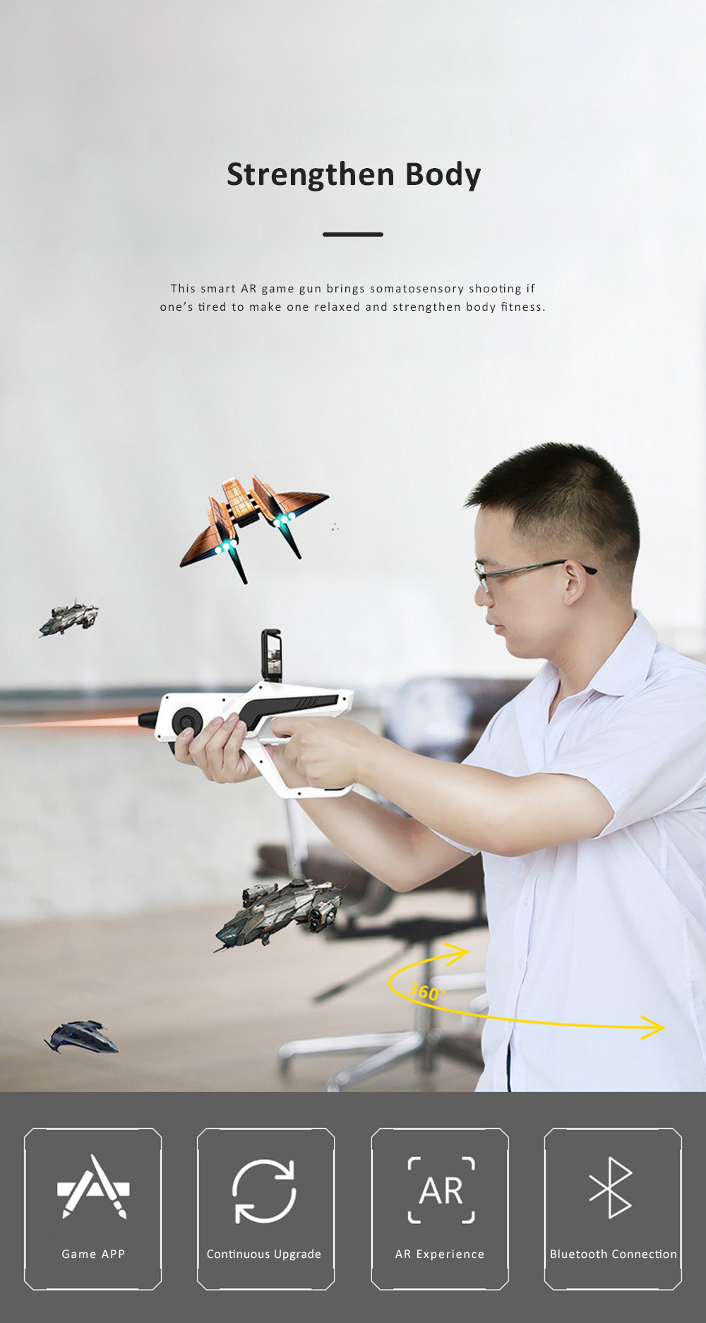 Smart AR Game Gun for Relaxation Shinecon Somatosensory AR Gun Bluetooth Connection AR Game Light Gun Compatible for 4.7-6.0 Smart Phone 4