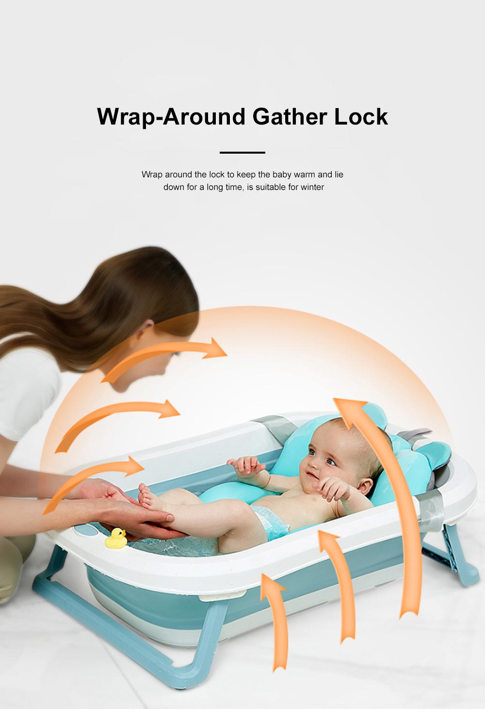Portable Folding Baby Bath Tub Anti-Slip Bottom Non-Toxic Material Children Bathtub Bucket For Baby within 5 Year Old 7