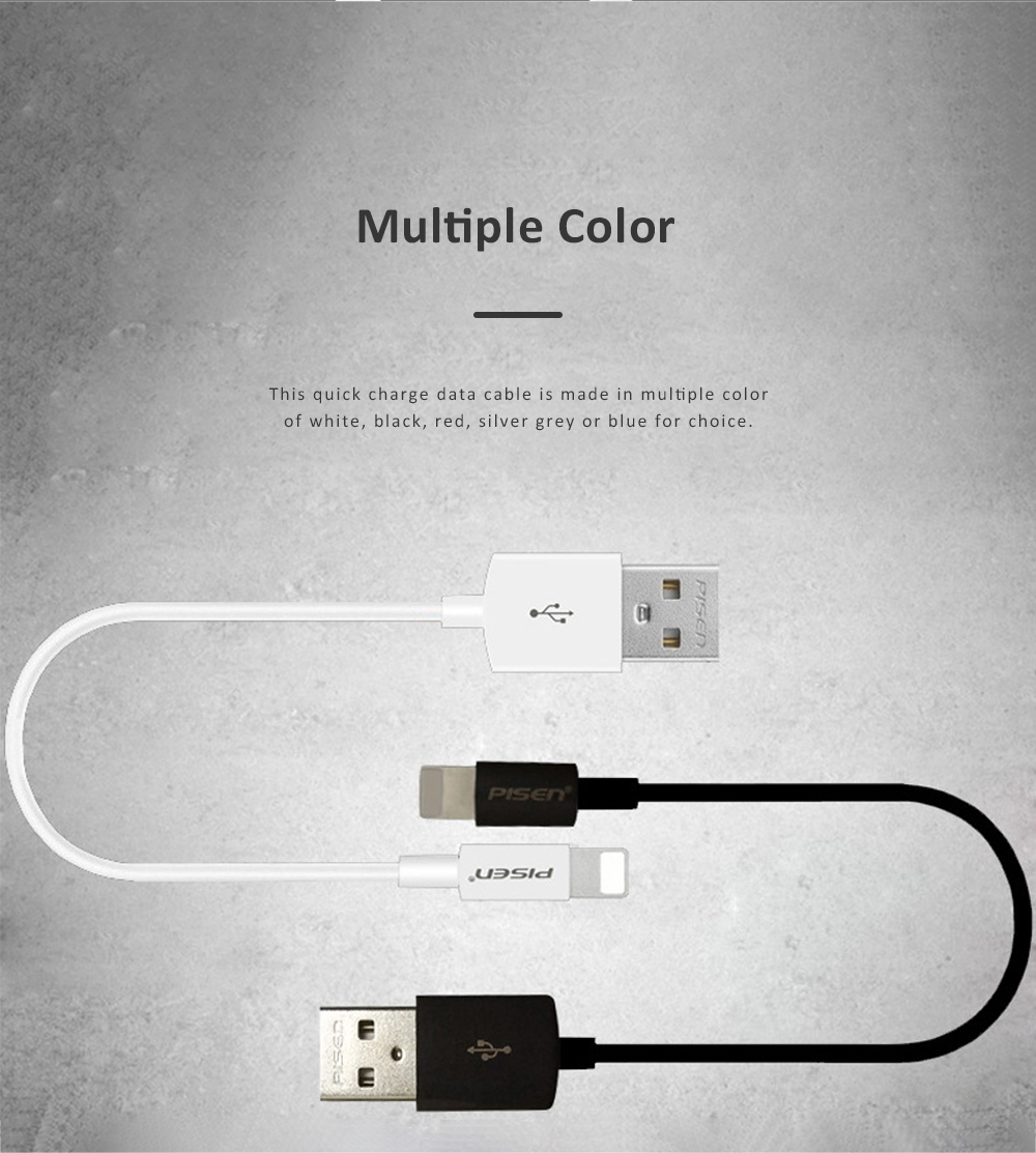 Pisen Quick Charge Data Cable Break Resistant USB Contact Data Cable Compatible with iPhone 11 Pro X 6 iPhone 6S Pus and More 5