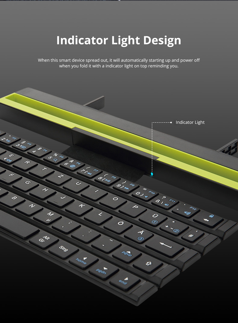 Rock Wireless Bluetooth iPad Keyboard for Both Phones and Tablet Computers Portable Mini-sized Scroll type Android IOS Keyboard for Multiple Devices 5