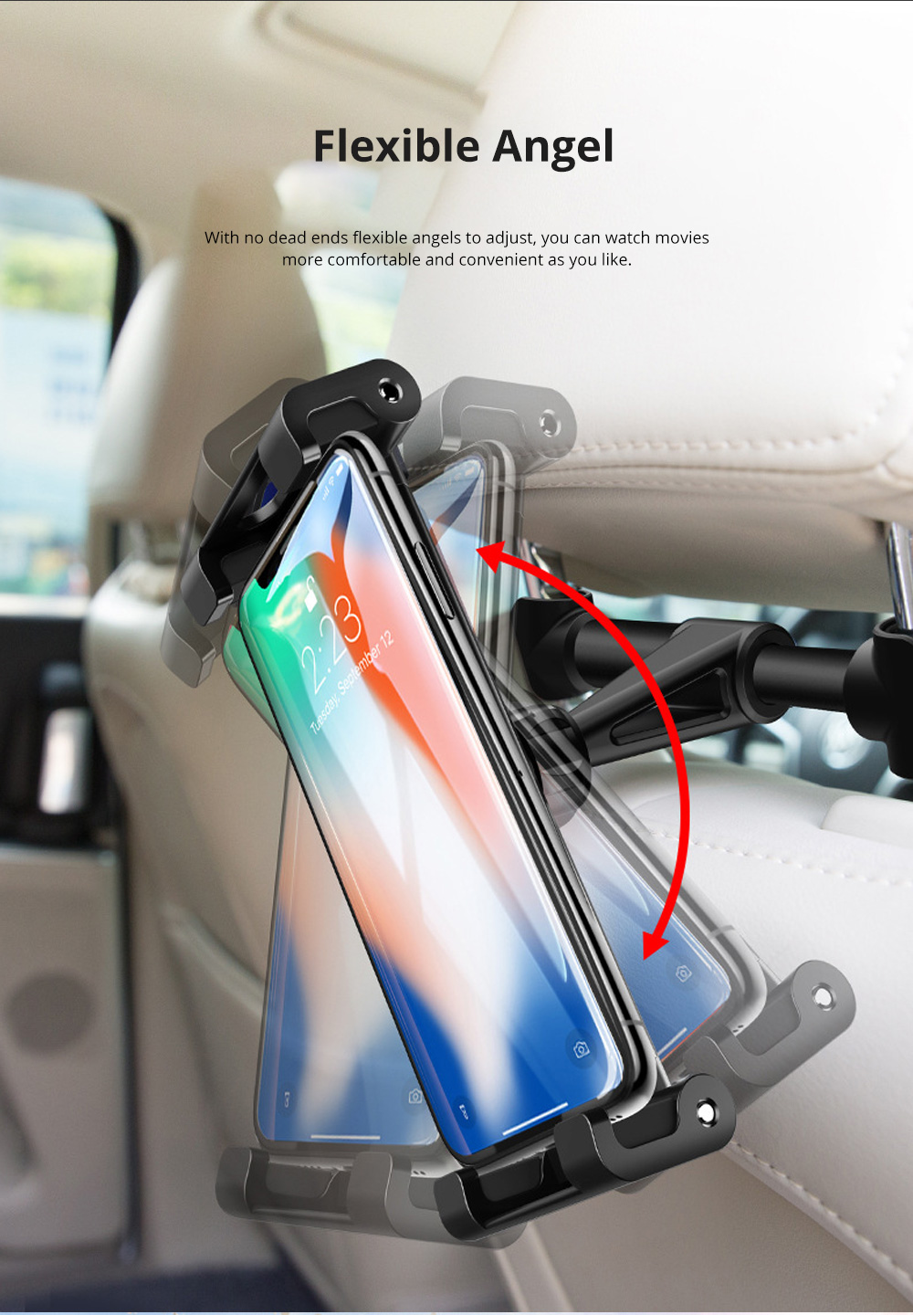 ROCK ABS Aluminium Alloy Material Vehicle-mounted Phone iPad Holder Multiple Functional Universal 4.7 to 12.9 inch Car Headrest Mount Stand 3