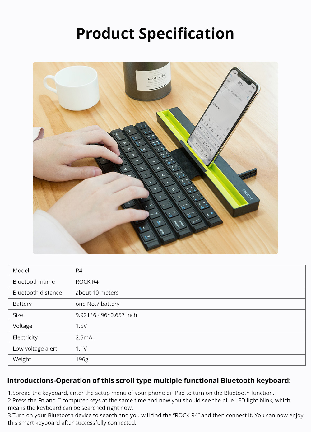 Rock Wireless Bluetooth iPad Keyboard for Both Phones and Tablet Computers Portable Mini-sized Scroll type Android IOS Keyboard for Multiple Devices 7