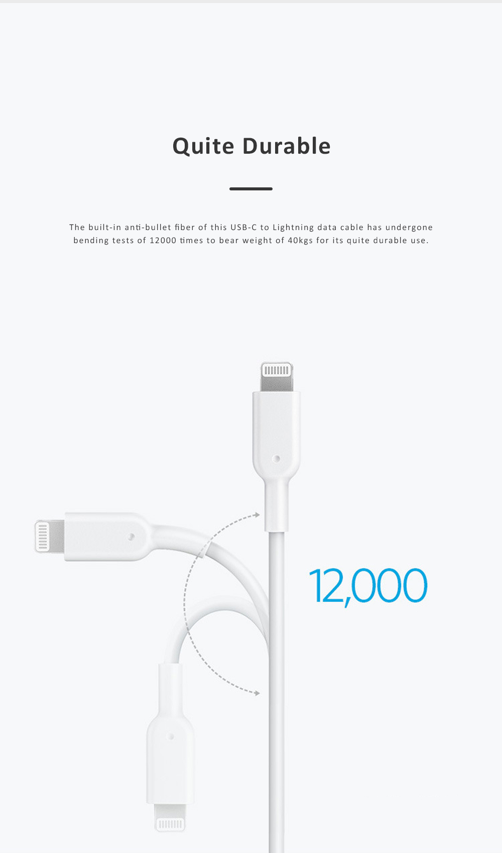 Anker Power Line USB-C to Lightning Data Cable PD Quick Charge Cable Compatible for iPhone iPad iPod Official Certified 3