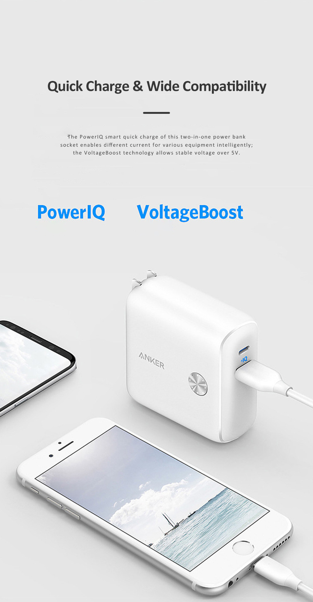 Anker 2 in 1 Power Bank Station Socket for Outdoors Travelling Quick Charge Portable Recharge Switch Power Socket 3