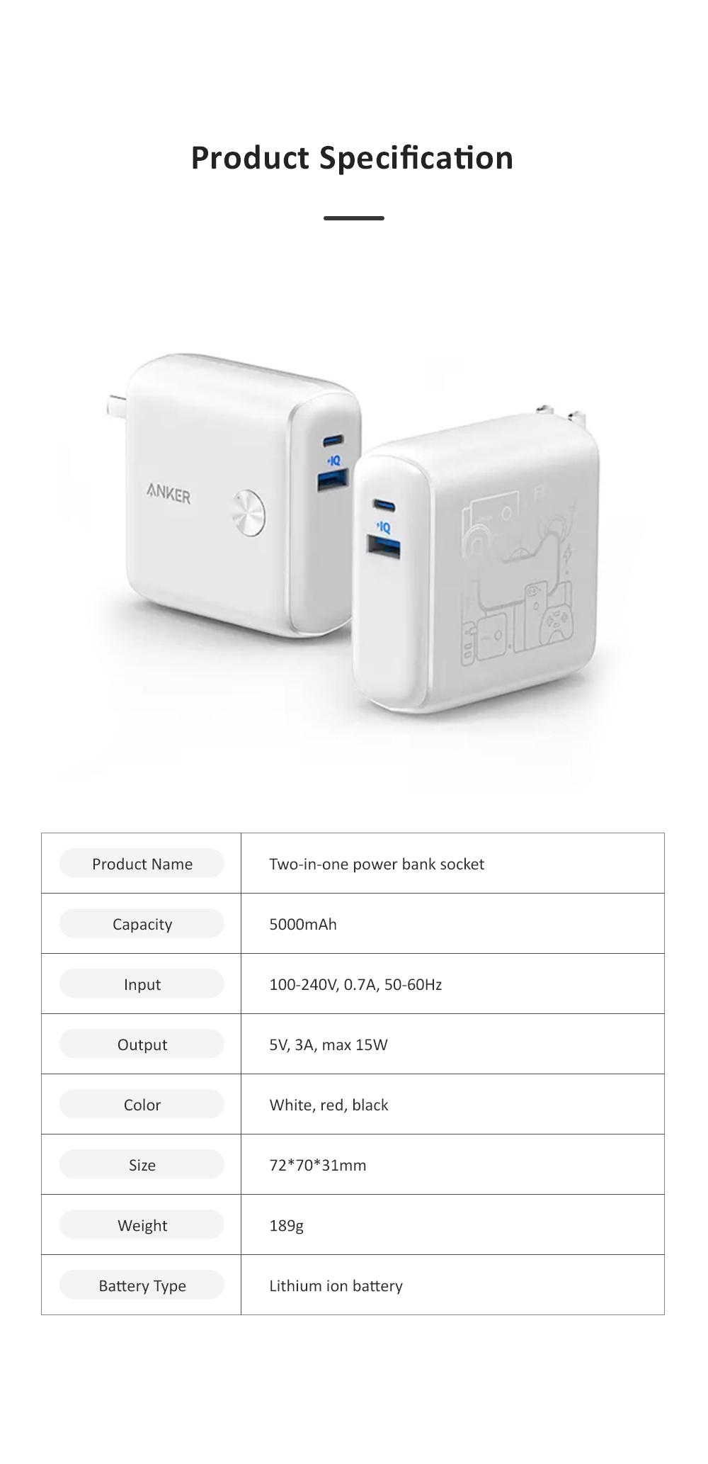 Anker 2 in 1 Power Bank Station Socket for Outdoors Travelling Quick Charge Portable Recharge Switch Power Socket 9
