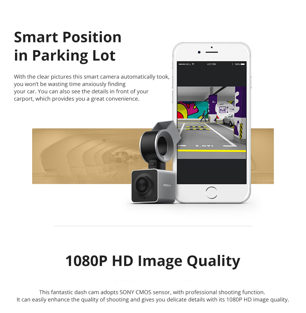 ROCK Multiple Functional Panorama HD 24 Hours Car DVR Smart Night Vision Automobile Data Recorder Monitoring GPS Speed Detection Recorder 4