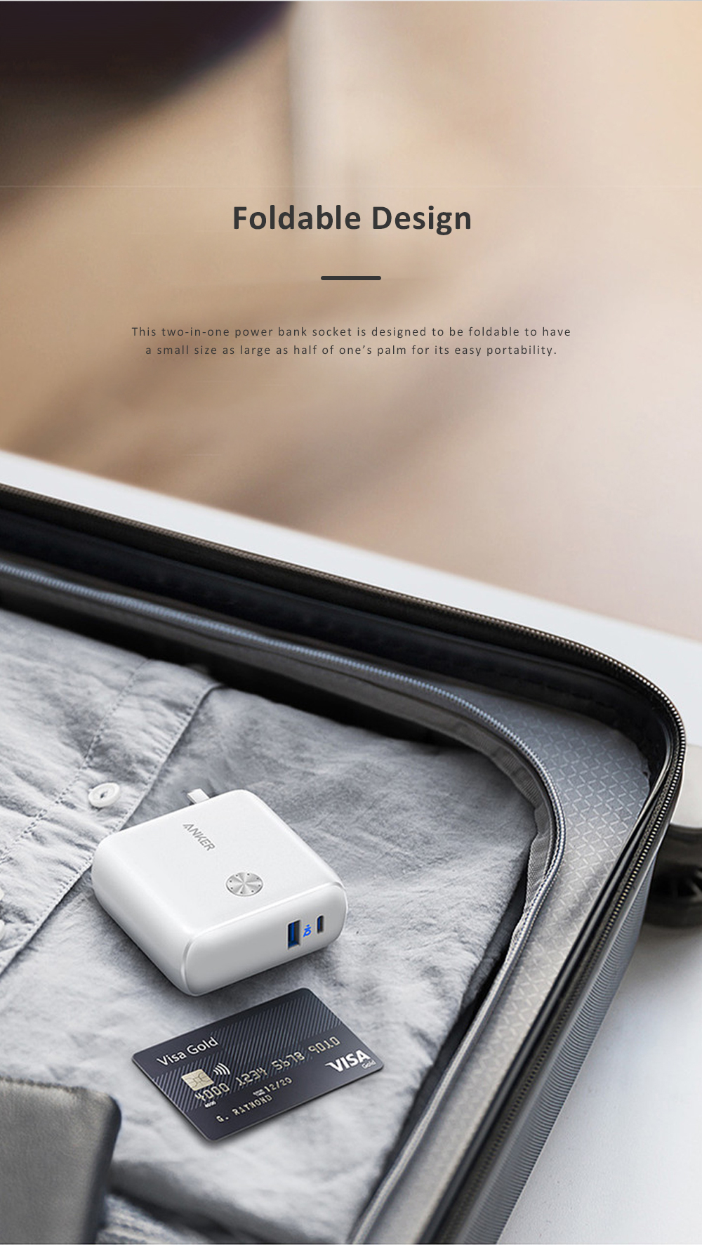 Anker 2 in 1 Power Bank Station Socket for Outdoors Travelling Quick Charge Portable Recharge Switch Power Socket 5