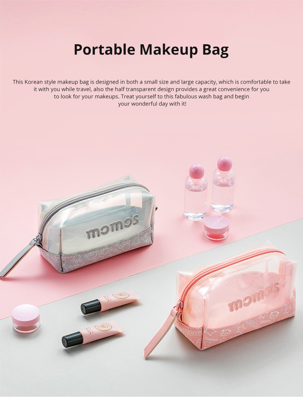 JORDAN&JUDY Water-proof Small Size Wash Bag Transparent PVC Material Portable Handbag for Girl's Makeup Travel & Home Use 0