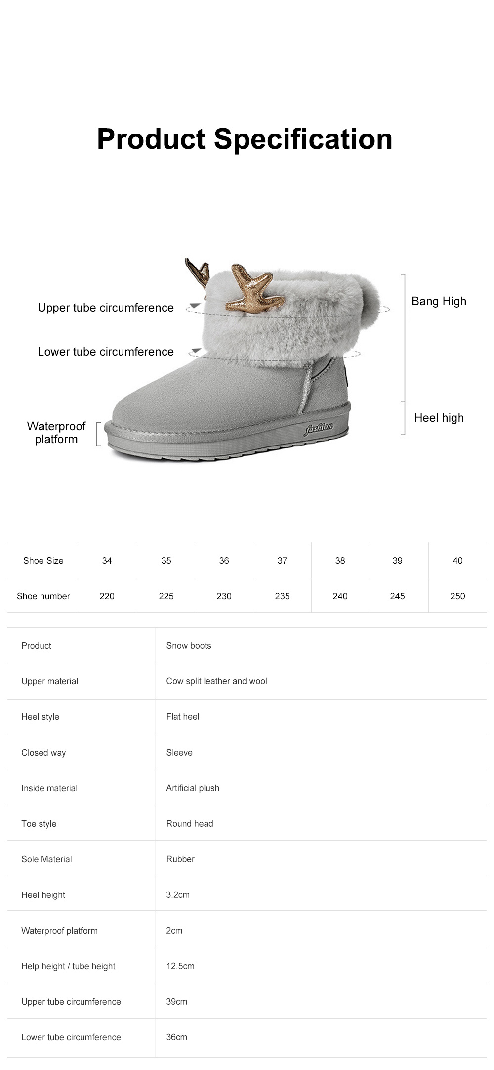 2019 Love Elk Antlers Boots Faux Fur Lining Suede Ankle Winter Warm Snow Boots For Women Ladies 6