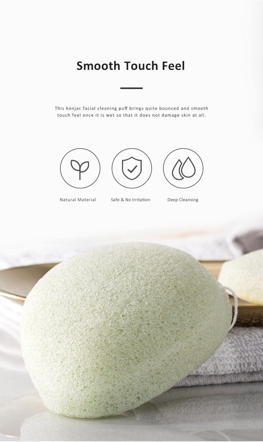 Jordan & Judy Konjac Sponge Facial Cleaning Puff for Face Deep Cleaning Facial Puff Konjac Facial Clean Buffer Sponge 1