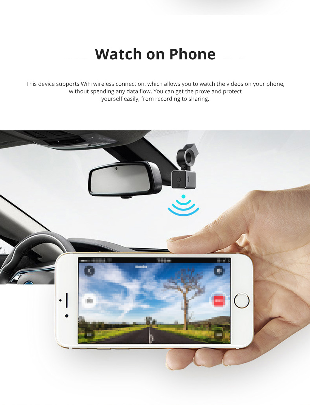 ROCK Multiple Functional Panorama HD 24 Hours Car DVR Smart Night Vision Automobile Data Recorder Monitoring GPS Speed Detection Recorder 2