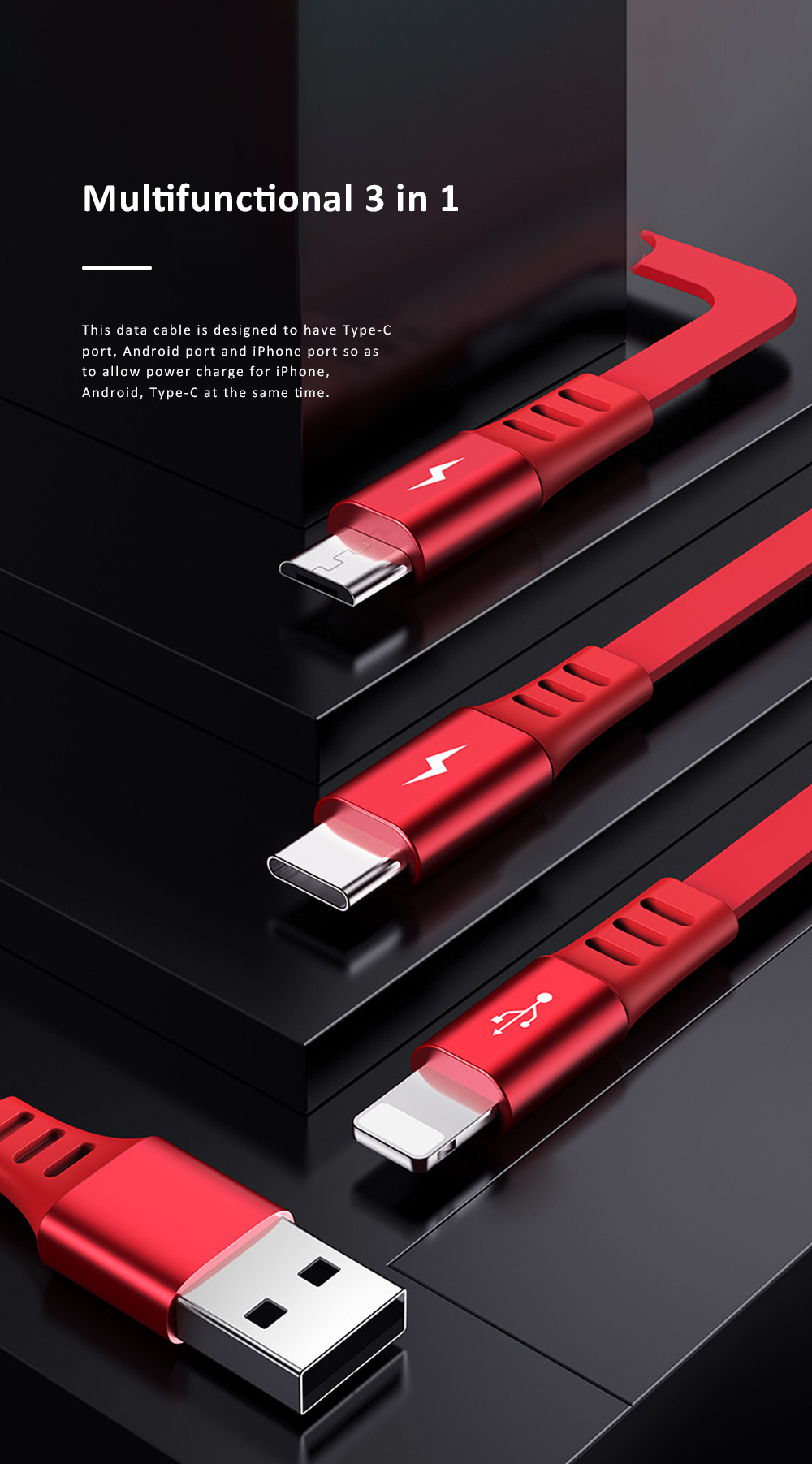 PISEN Three-in-one Telescopic Data Cable Quick Charge Type-c Data Line Compatible with Android, iPhone Multifunctional Power Line 2