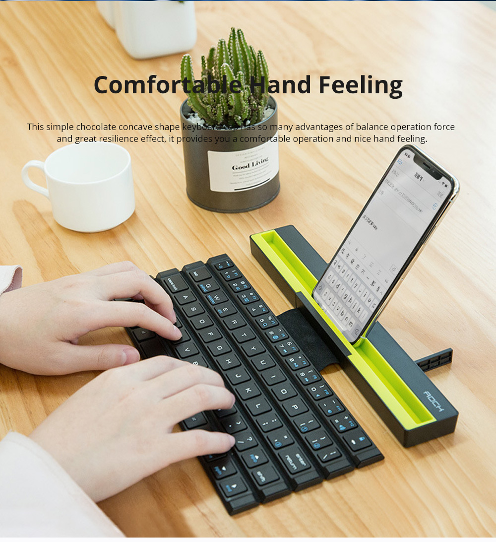 Rock Wireless Bluetooth iPad Keyboard for Both Phones and Tablet Computers Portable Mini-sized Scroll type Android IOS Keyboard for Multiple Devices 3