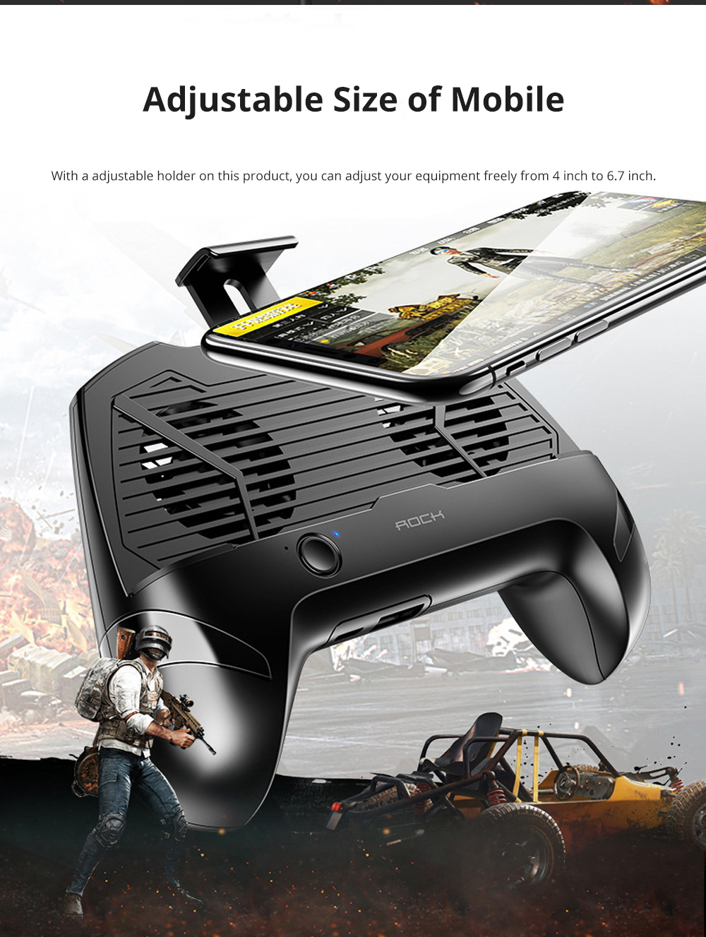 ROCK Multiple Functional Radiator Thermal Dissipation Cellphone Holder with Two Large Fans For Shooting Games 5