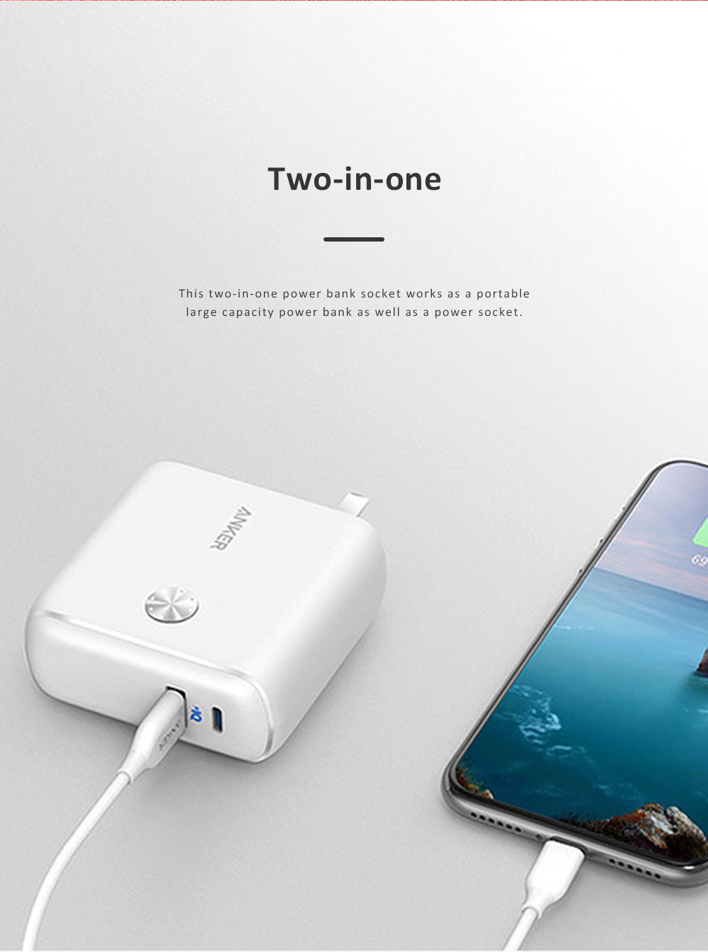 Anker 2 in 1 Power Bank Station Socket for Outdoors Travelling Quick Charge Portable Recharge Switch Power Socket 1