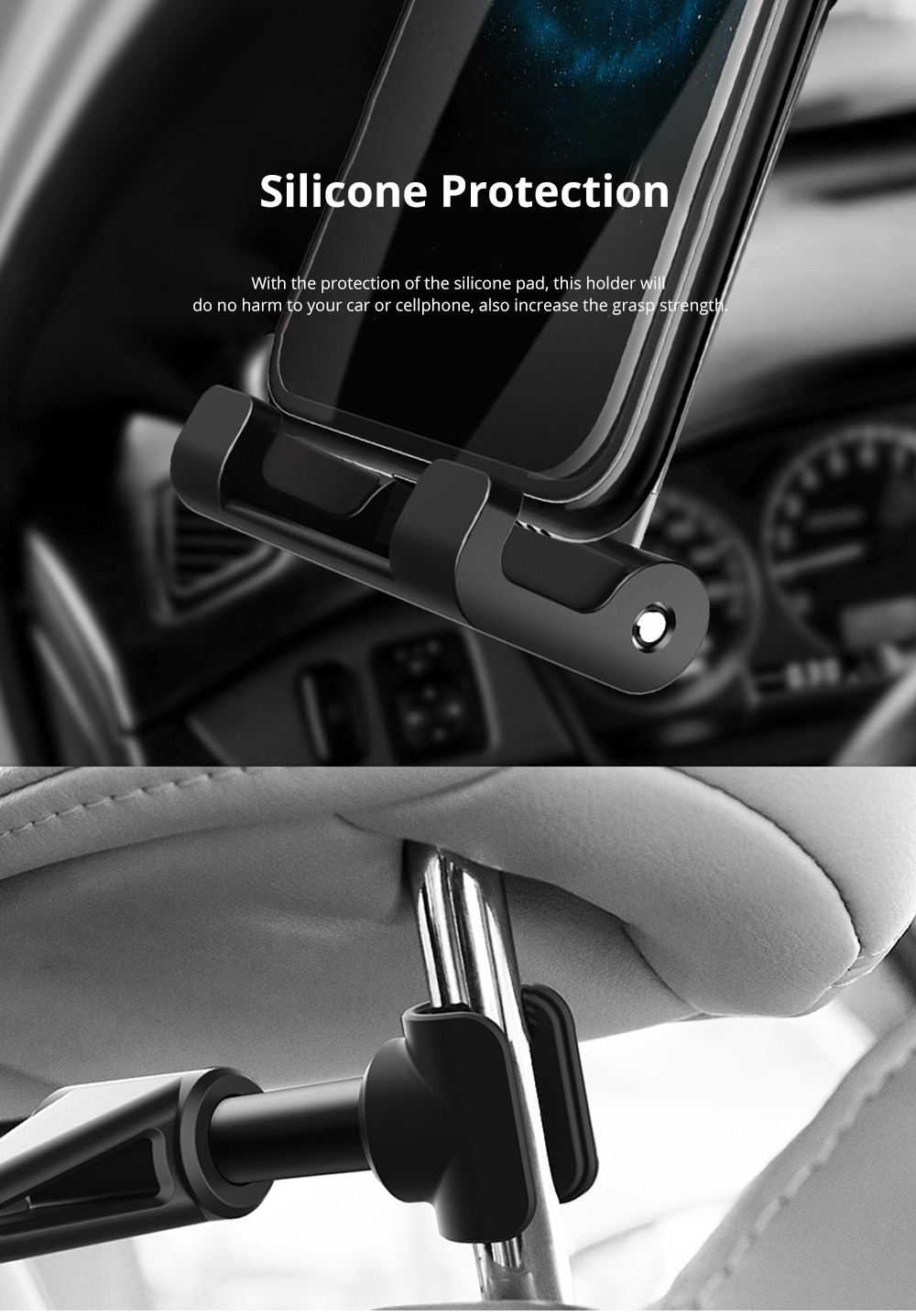 ROCK ABS Aluminium Alloy Material Vehicle-mounted Phone iPad Holder Multiple Functional Universal 4.7 to 12.9 inch Car Headrest Mount Stand 6