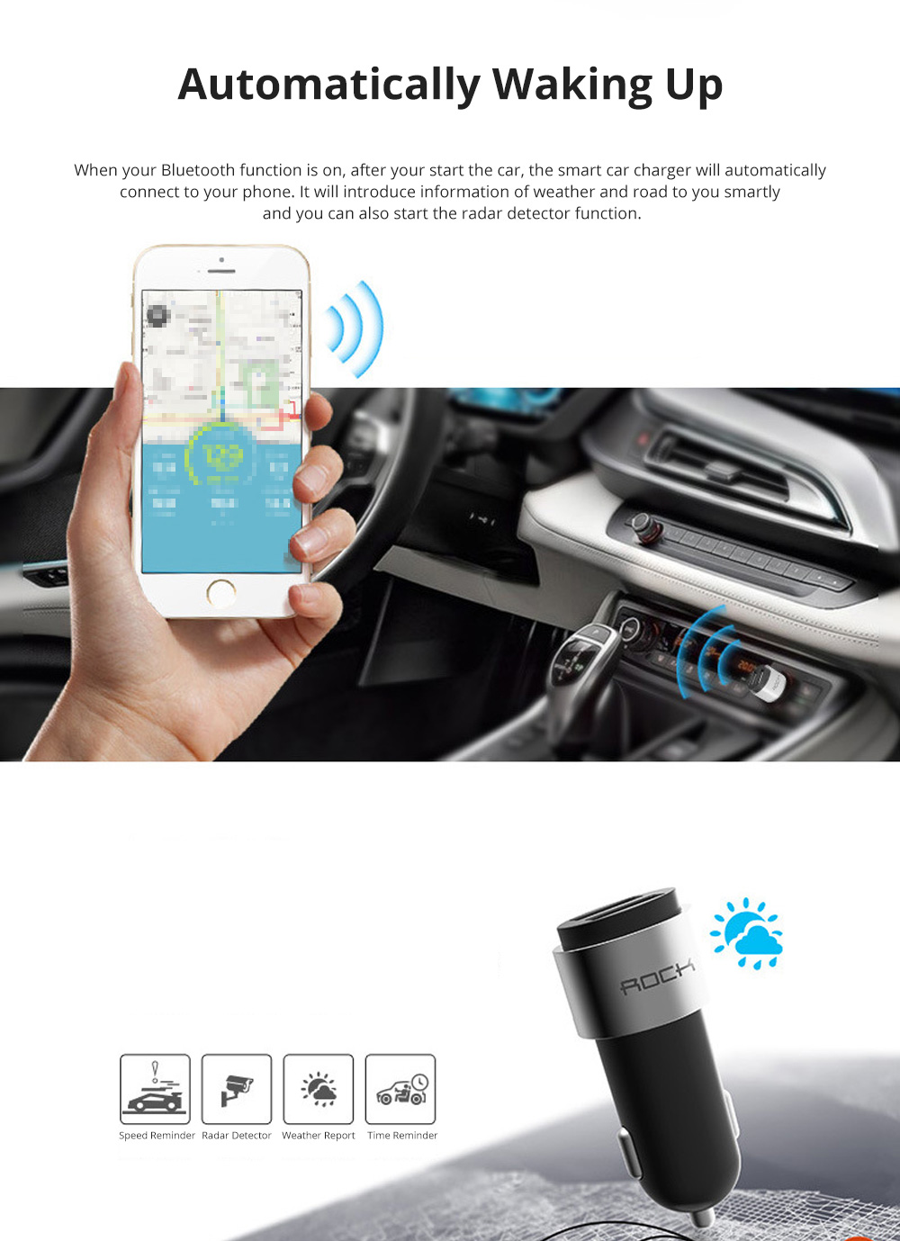 ROCK Multiple Functional Panorama HD 24 Hours Car DVR Smart Night Vision Automobile Data Recorder Monitoring GPS Speed Detection Recorder 7
