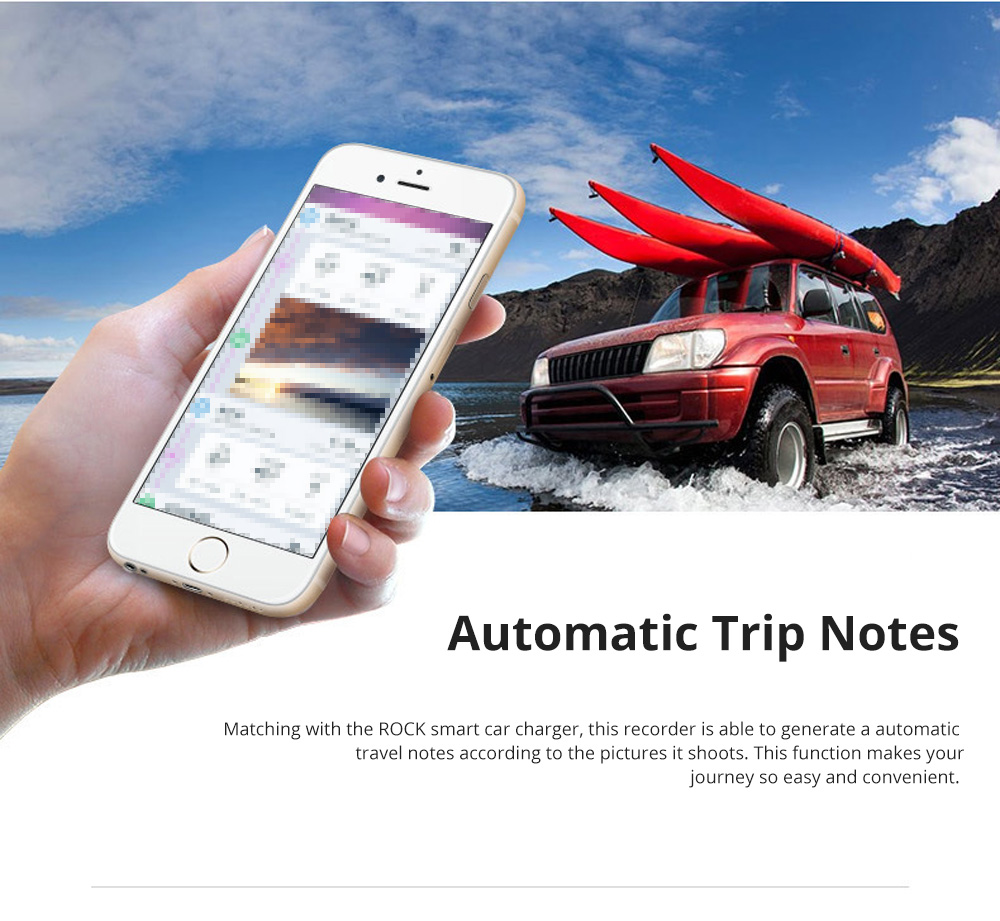 ROCK Multiple Functional Panorama HD 24 Hours Car DVR Smart Night Vision Automobile Data Recorder Monitoring GPS Speed Detection Recorder 3