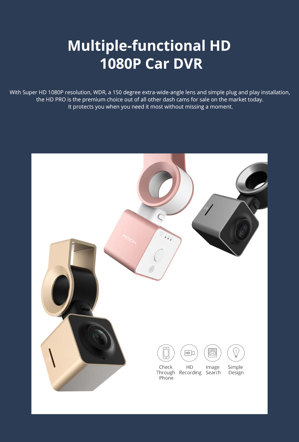 ROCK Multiple Functional Panorama HD 24 Hours Car DVR Smart Night Vision Automobile Data Recorder Monitoring GPS Speed Detection Recorder 0