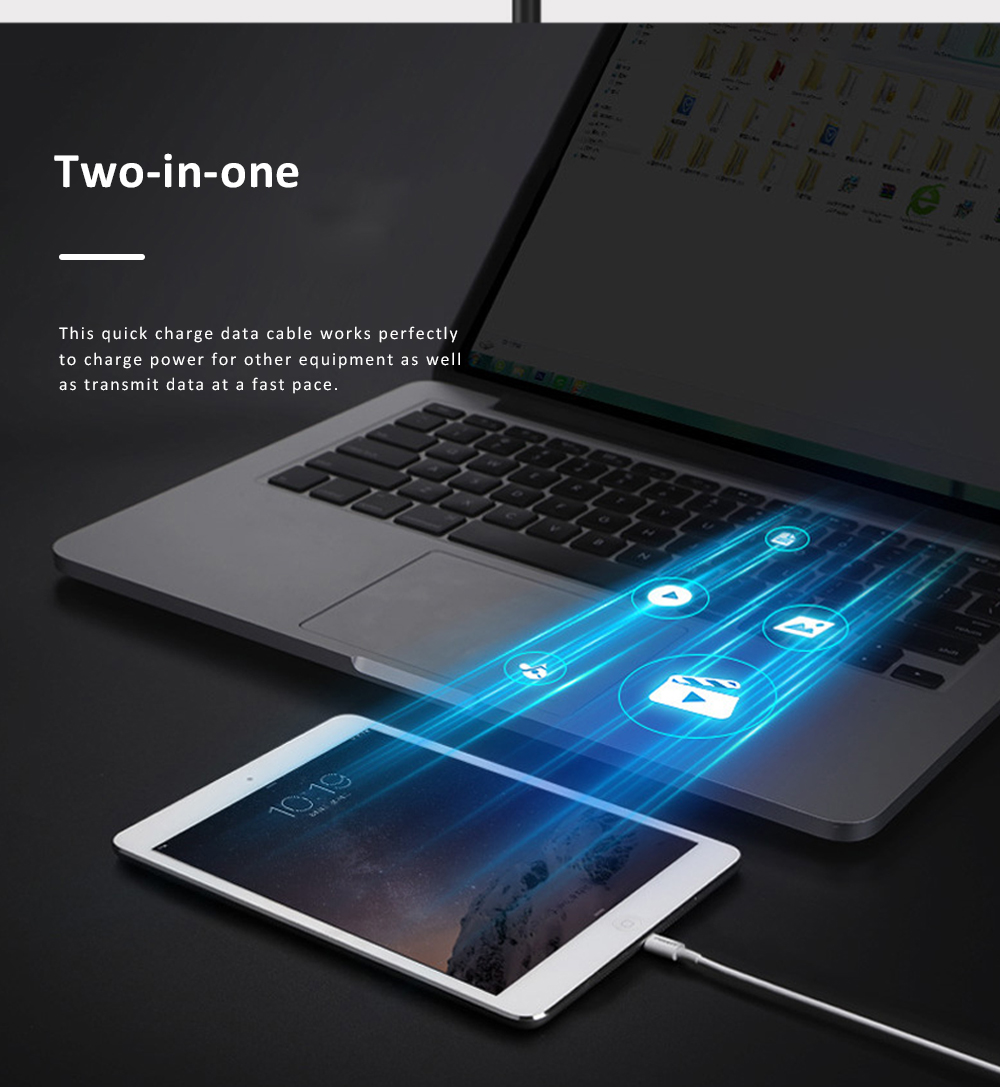 Pisen Quick Charge Data Cable Break Resistant USB Contact Data Cable Compatible with iPhone 11 Pro X 6 iPhone 6S Pus and More 2