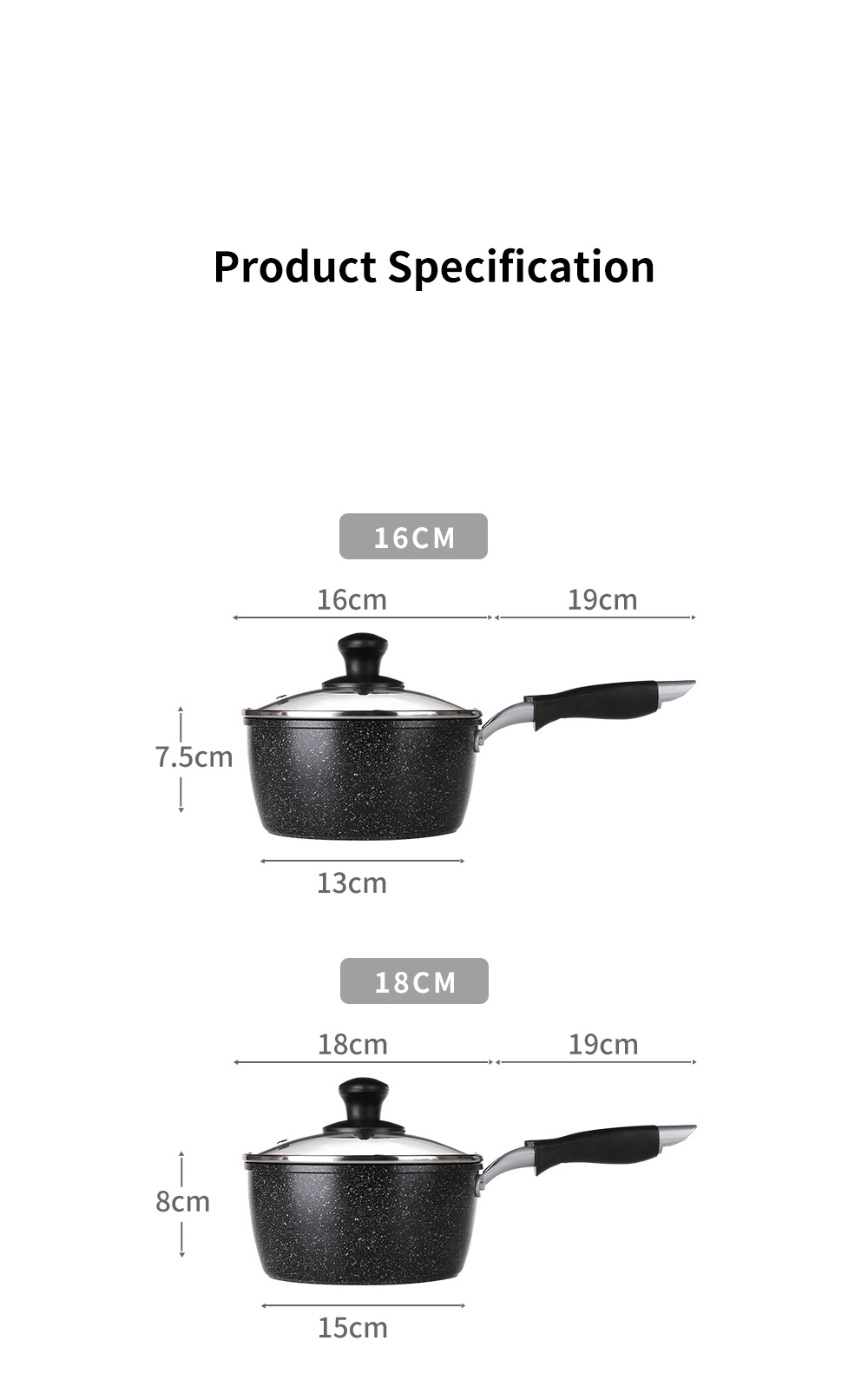New Style 7.087 Inch Non-stick Medical Stone Milk Pan Small-sized Complementary Food Pot for Babies Food-grade Quality 13