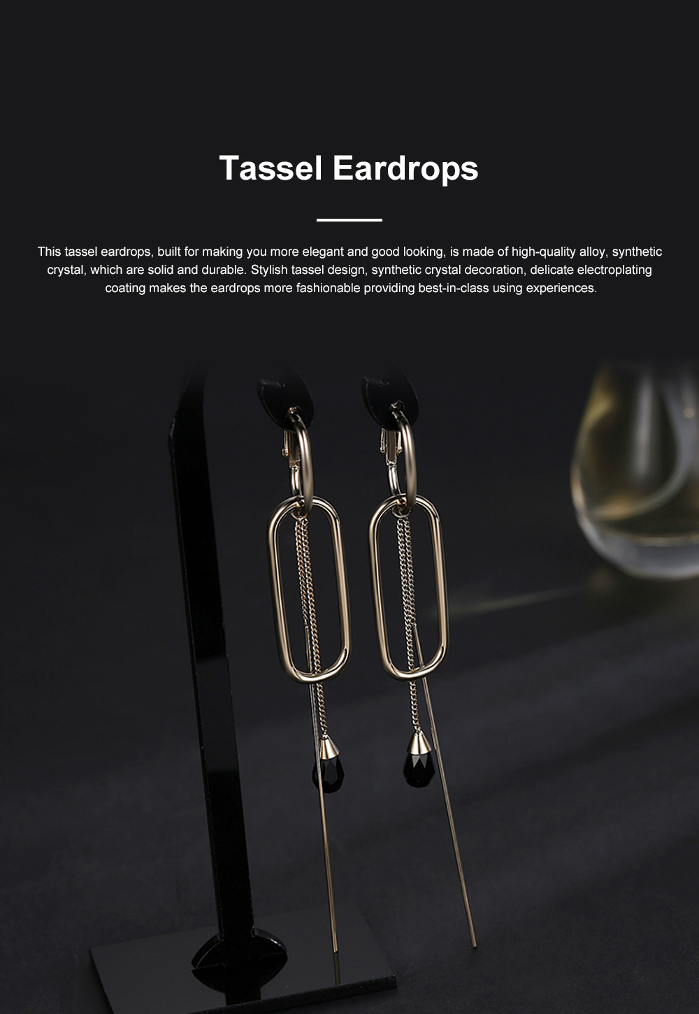 CAROMAY Minimalist Vintage Elegant Tassel Hollow Model Earrings Eardrops with Synthetic Crystal Decoration Delicate Electroplating Coating 0