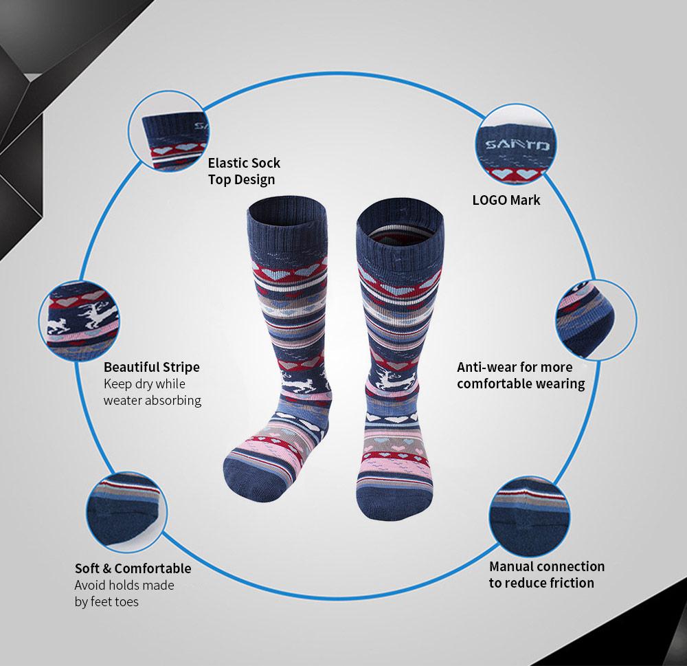 SANTO Ski Socks for Winter Outdoor Activities Thickened Cotton Socks Kids' Lightweight Thermal Socks Odor Resistant Socks 1