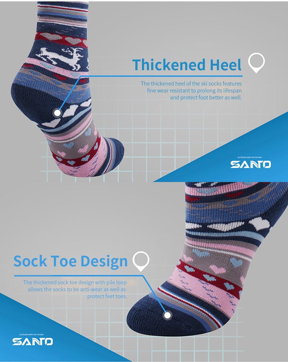 SANTO Ski Socks for Winter Outdoor Activities Thickened Cotton Socks Kids' Lightweight Thermal Socks Odor Resistant Socks 4