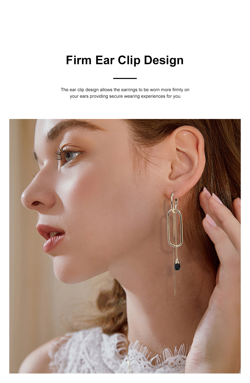 CAROMAY Minimalist Vintage Elegant Tassel Hollow Model Earrings Eardrops with Synthetic Crystal Decoration Delicate Electroplating Coating 3