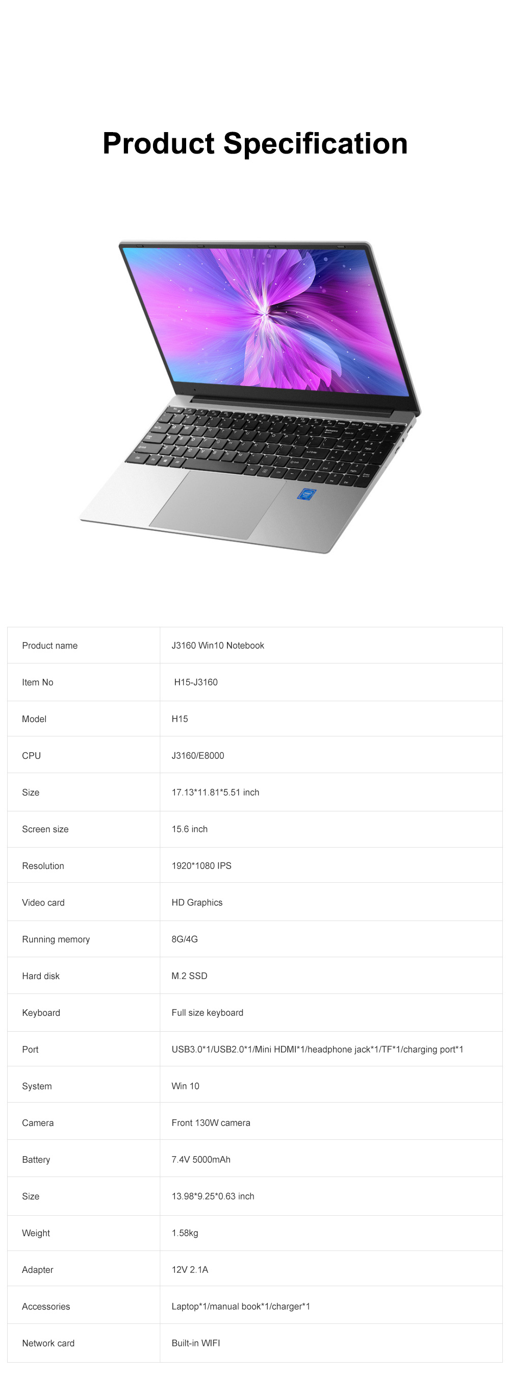 J3160 Win10 Notebook with Full-size Keypad Portable Quad-Core Laptop with 1920*1080 HD IPS 8