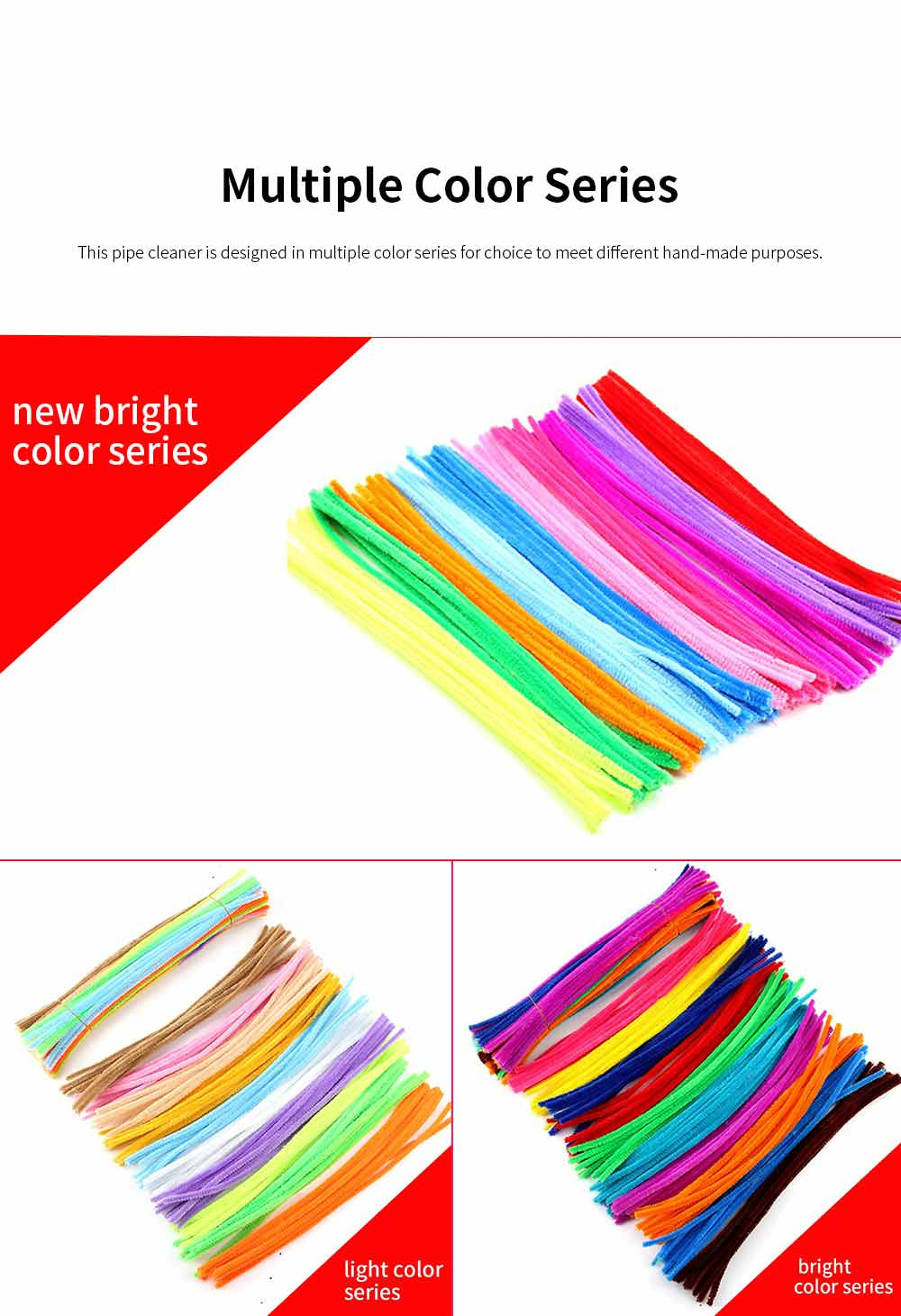100pcs Per Set Twist Stick Velvet Pipe for Hand-made Use Ten-color Mixed Twisting Stick Light Color Series DIY Tool Mixed 10 Color 3