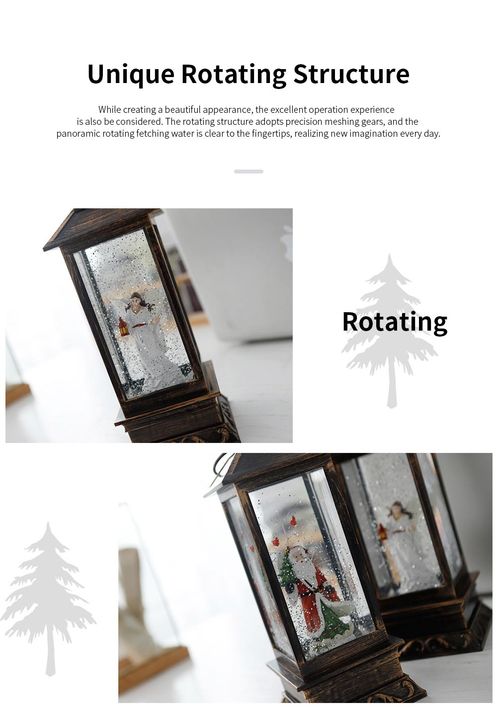 European Style LED Santa Claus Snowman Night Light Battery Powered Retro Stand Table Lamp with Christmas Interior Music Rotating Function 4