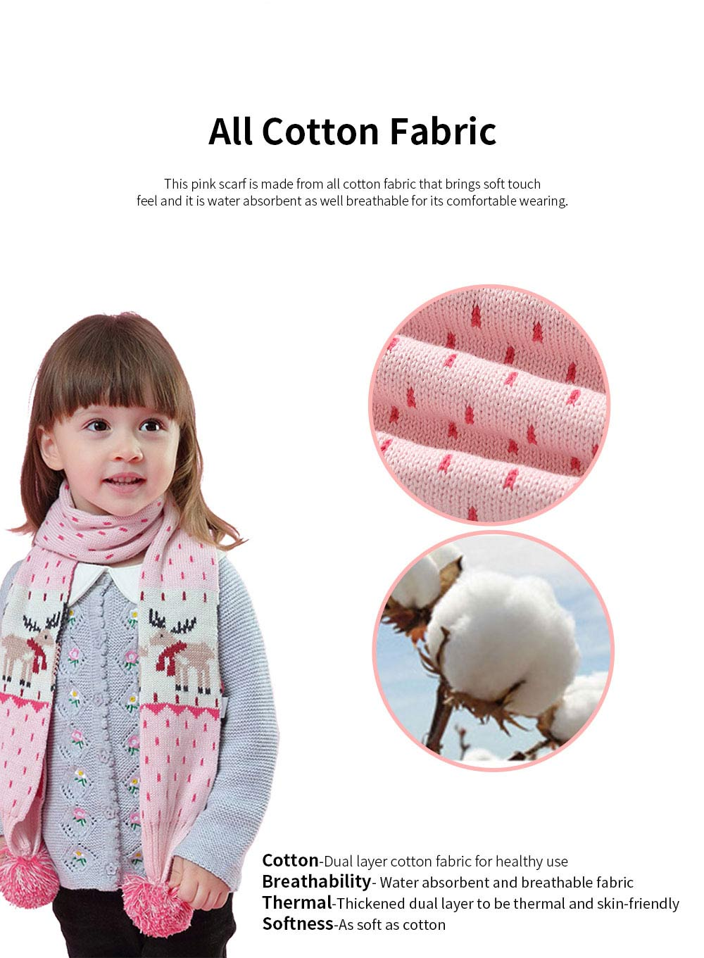Ruhi New Style Long Scarf for Kids' Wear 100% Cotton Knitted Thermal Kid's Scarf Pink Cartoon Deer Pattern Scarf Winter Autumn 1