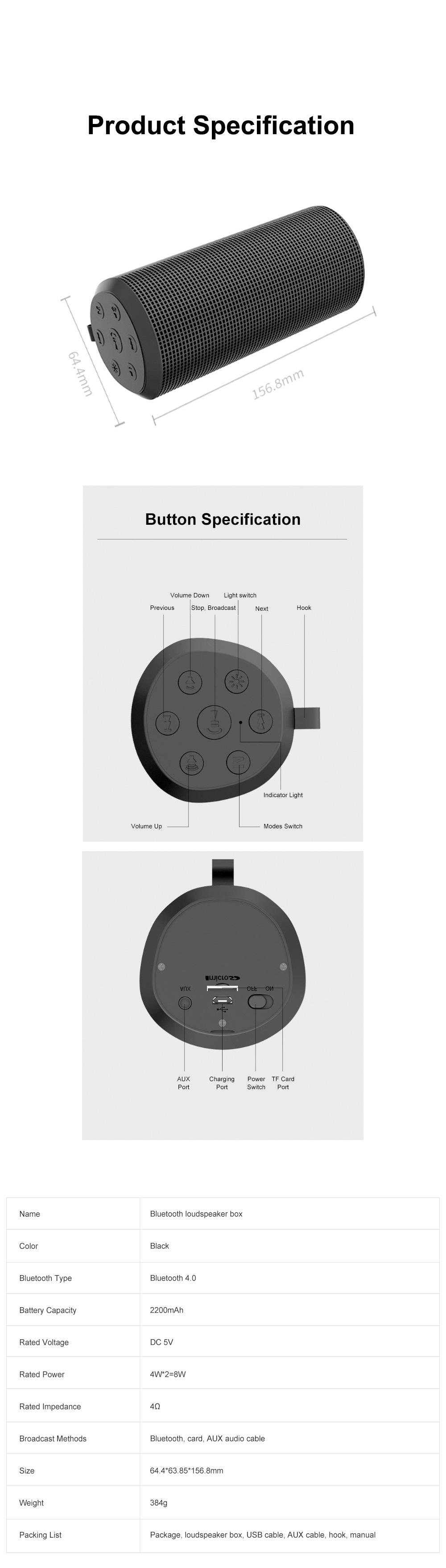 T900 Mini Multifunctional Portable Long Endurance Wireless Bluetooth Loudspeaker Box Speaker with Fantasy Light Effects 9