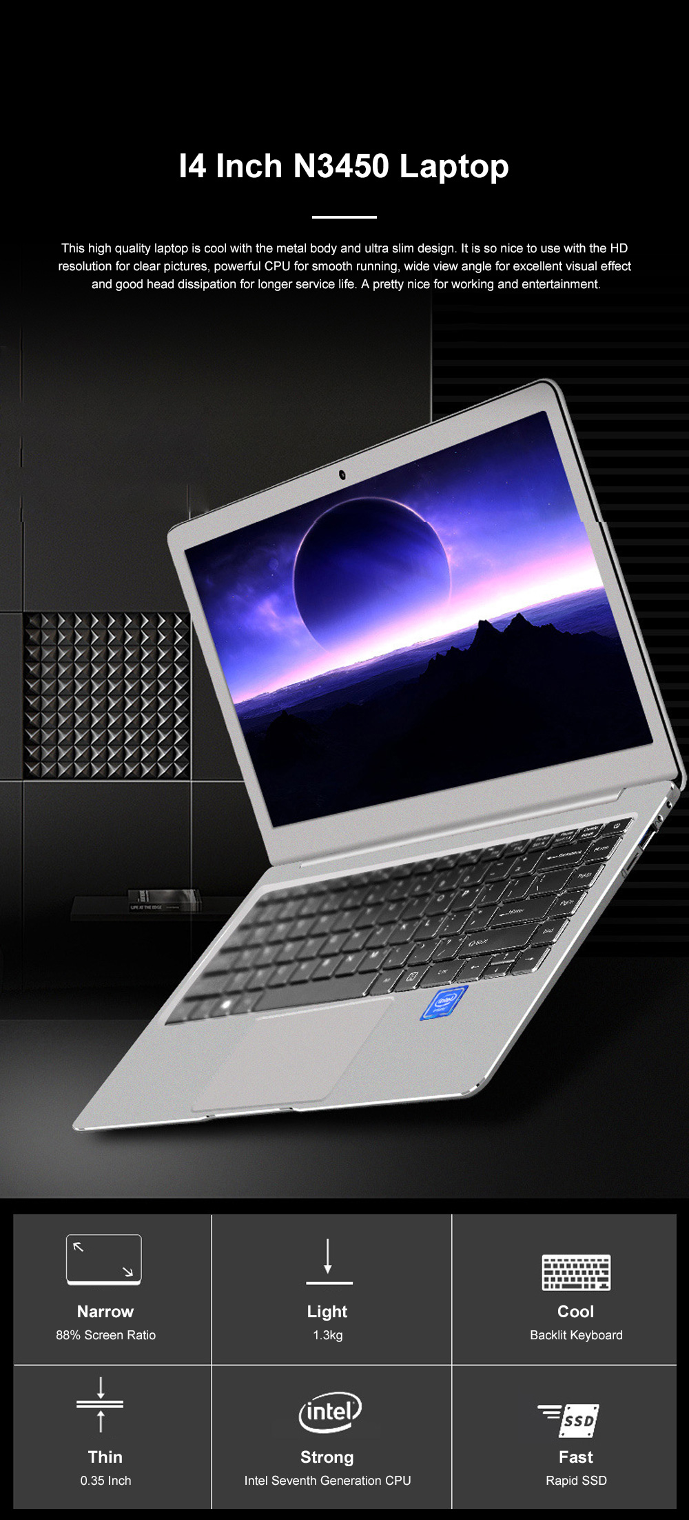 I4 Inch N3450 Laptop Intel Quad-Core ProBook with 1920*1080 HD Resolution Ultra Slim Notebook with Wide View Angle 0