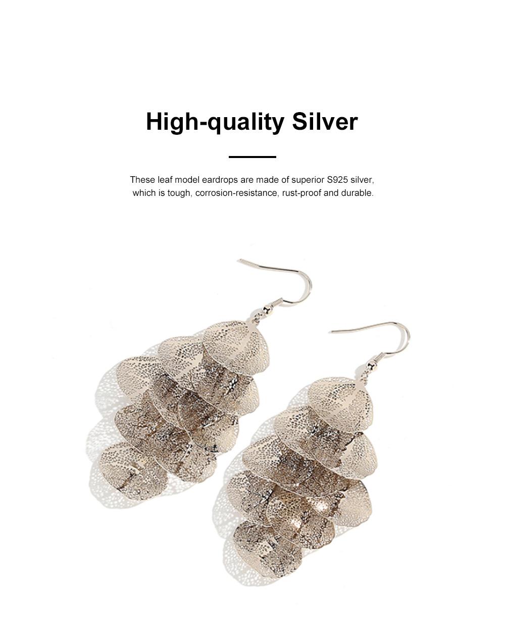 CAROMAY Stylish Elegant Vintage Delicate Hollow Leaf Model Tassels Silver Eardrops Earrings with Mirror Polishing Electroplating 1
