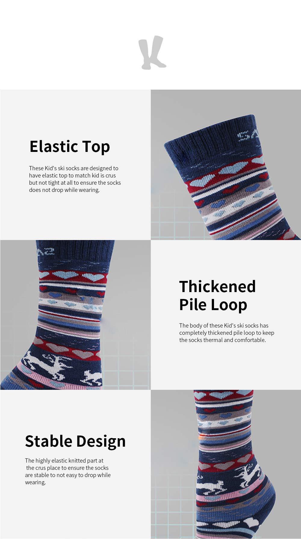 SANTO Ski Socks for Winter Outdoor Activities Thickened Cotton Socks Kids' Lightweight Thermal Socks Odor Resistant Socks 3