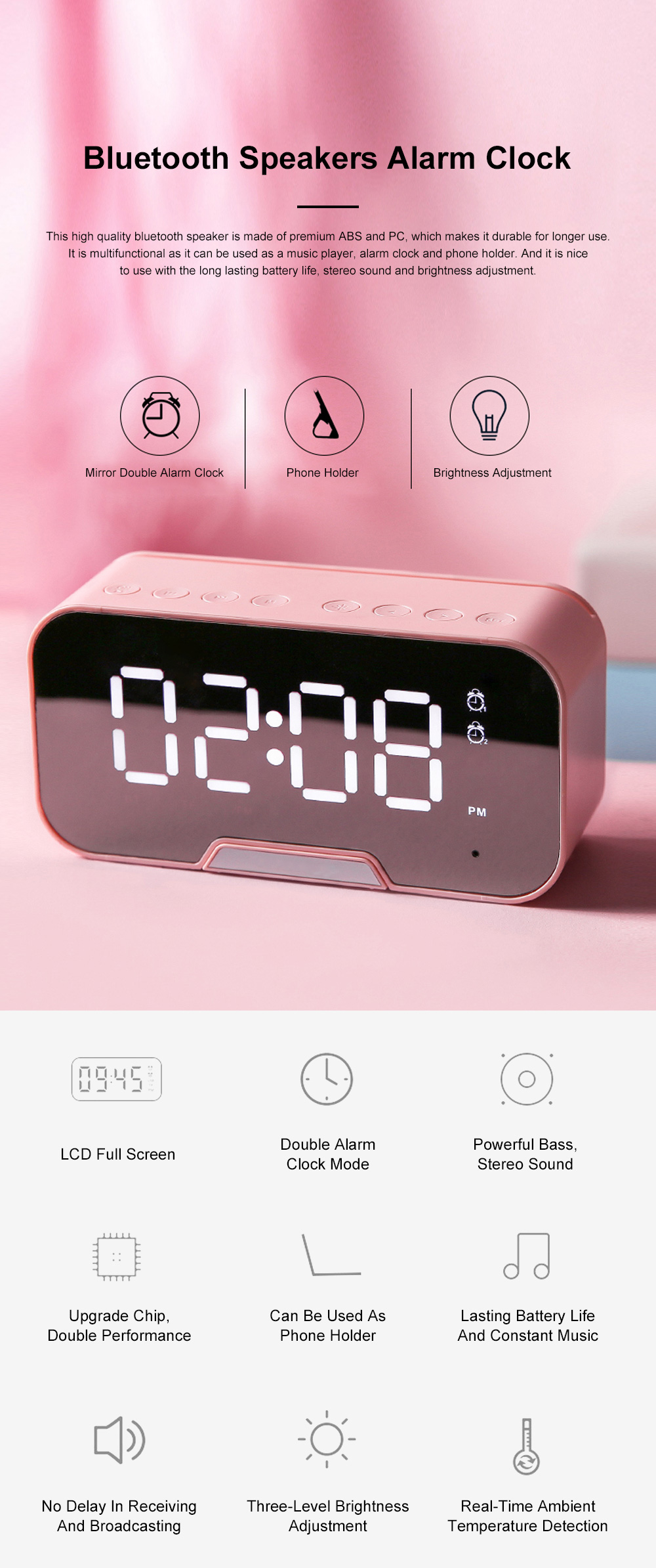 Bluetooth Speakers Alarm Clock Radio with Dual Alarms and 3 Level Brightness Adjustment and Stereo Sound 0