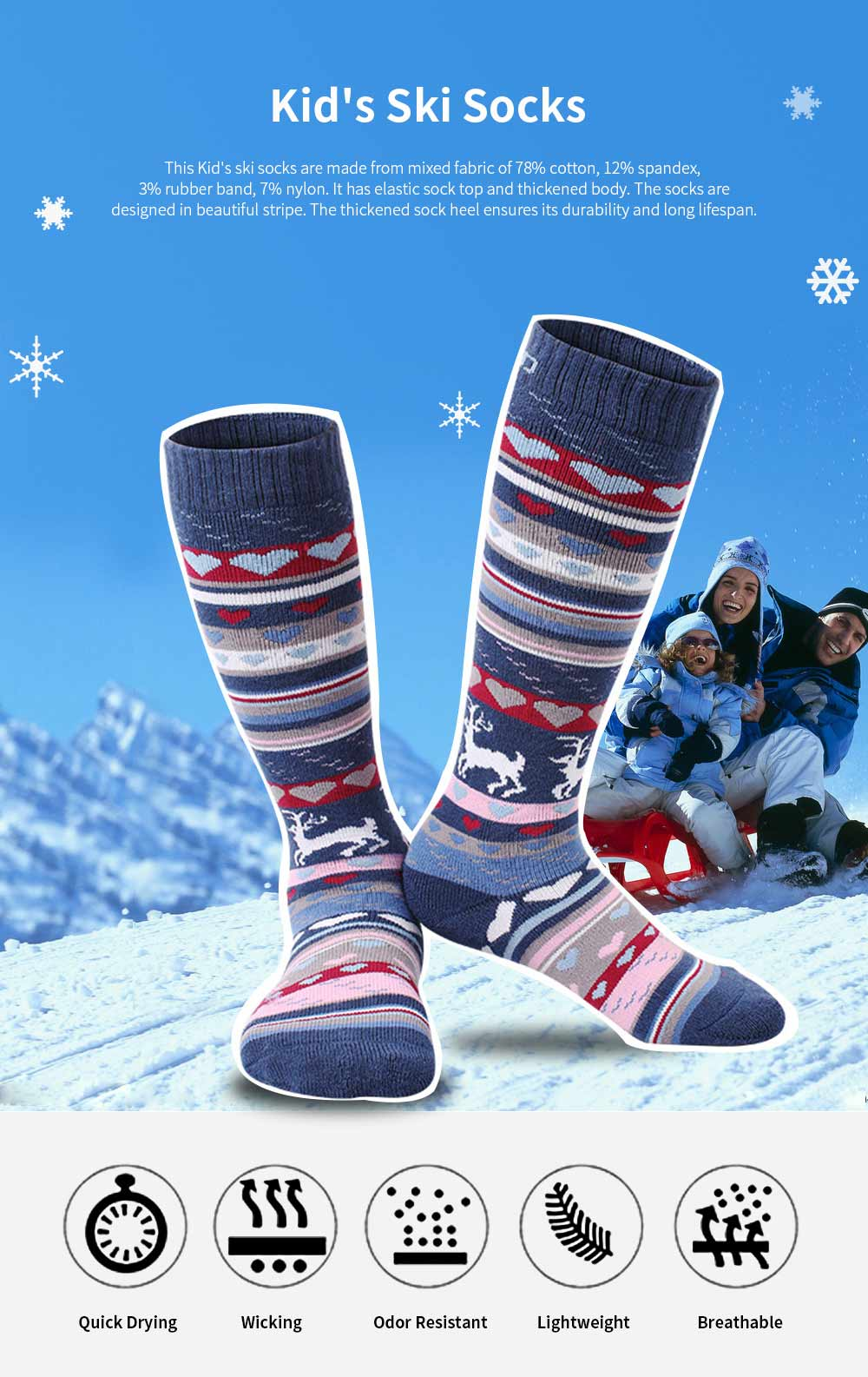 SANTO Ski Socks for Winter Outdoor Activities Thickened Cotton Socks Kids' Lightweight Thermal Socks Odor Resistant Socks 0