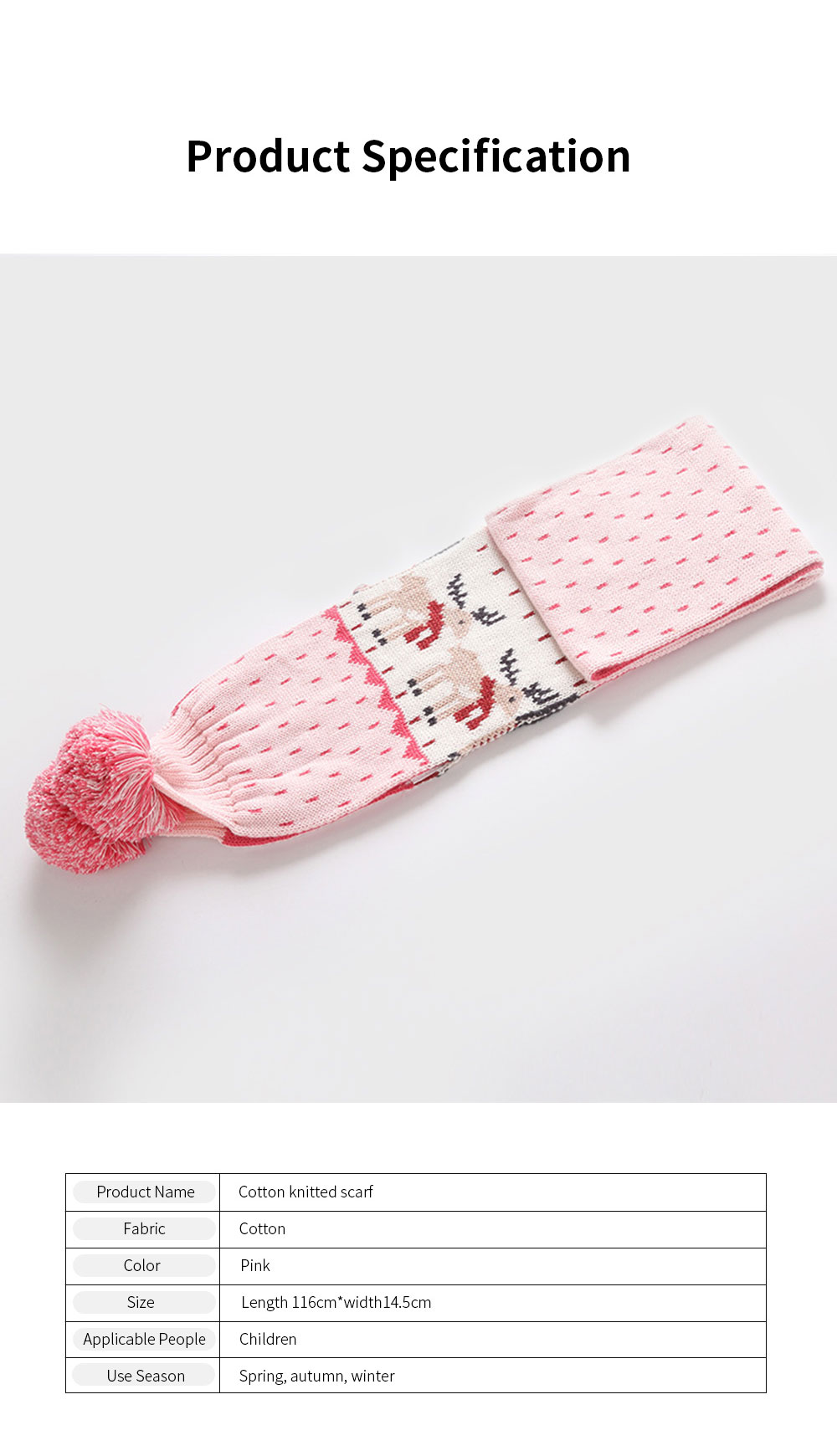 Ruhi New Style Long Scarf for Kids' Wear 100% Cotton Knitted Thermal Kid's Scarf Pink Cartoon Deer Pattern Scarf Winter Autumn 6