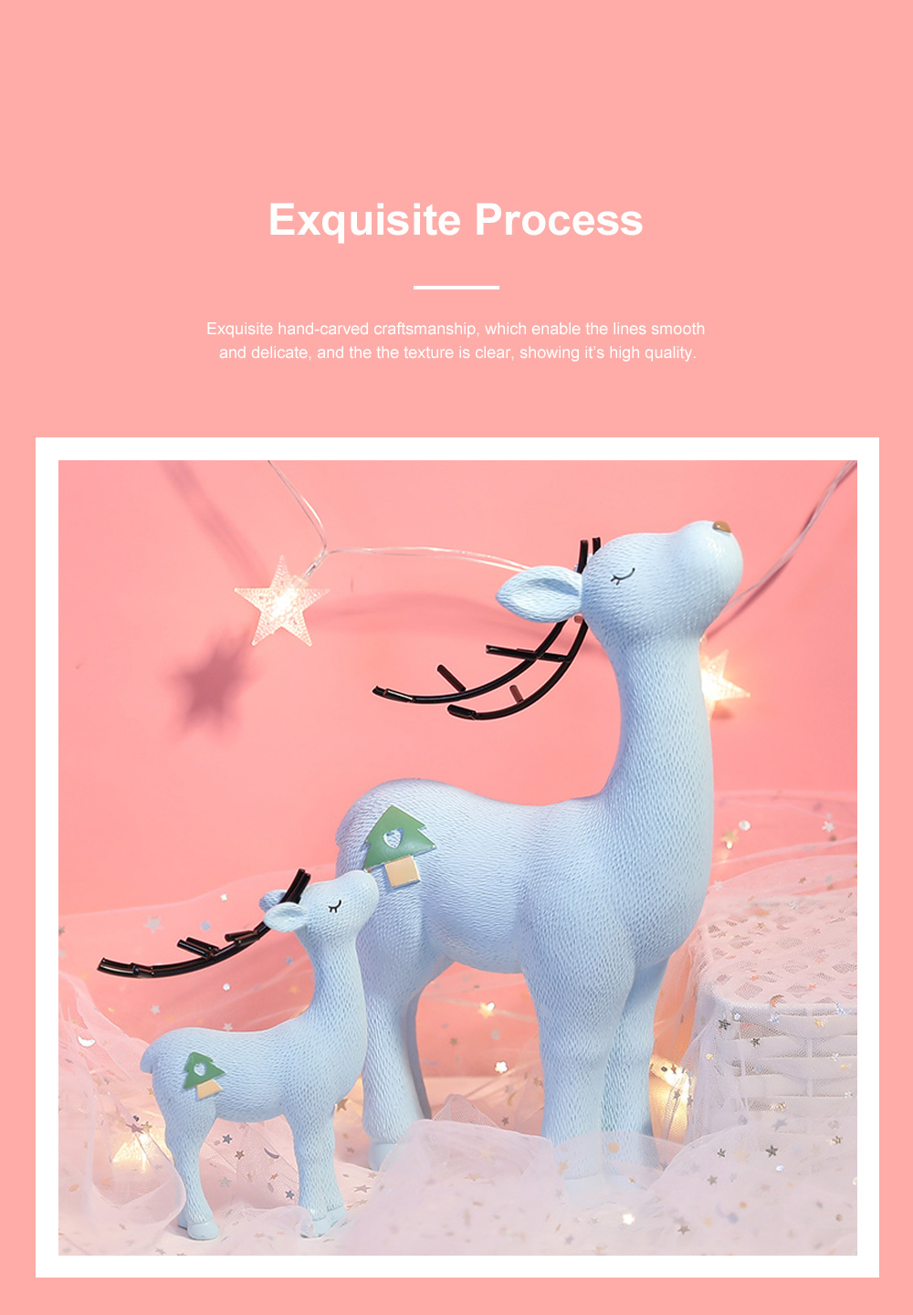 Crafts Decorative Deer Nordic Style Resin Deer Household Decoration for Living Room Bedroom and Office Decoration 2