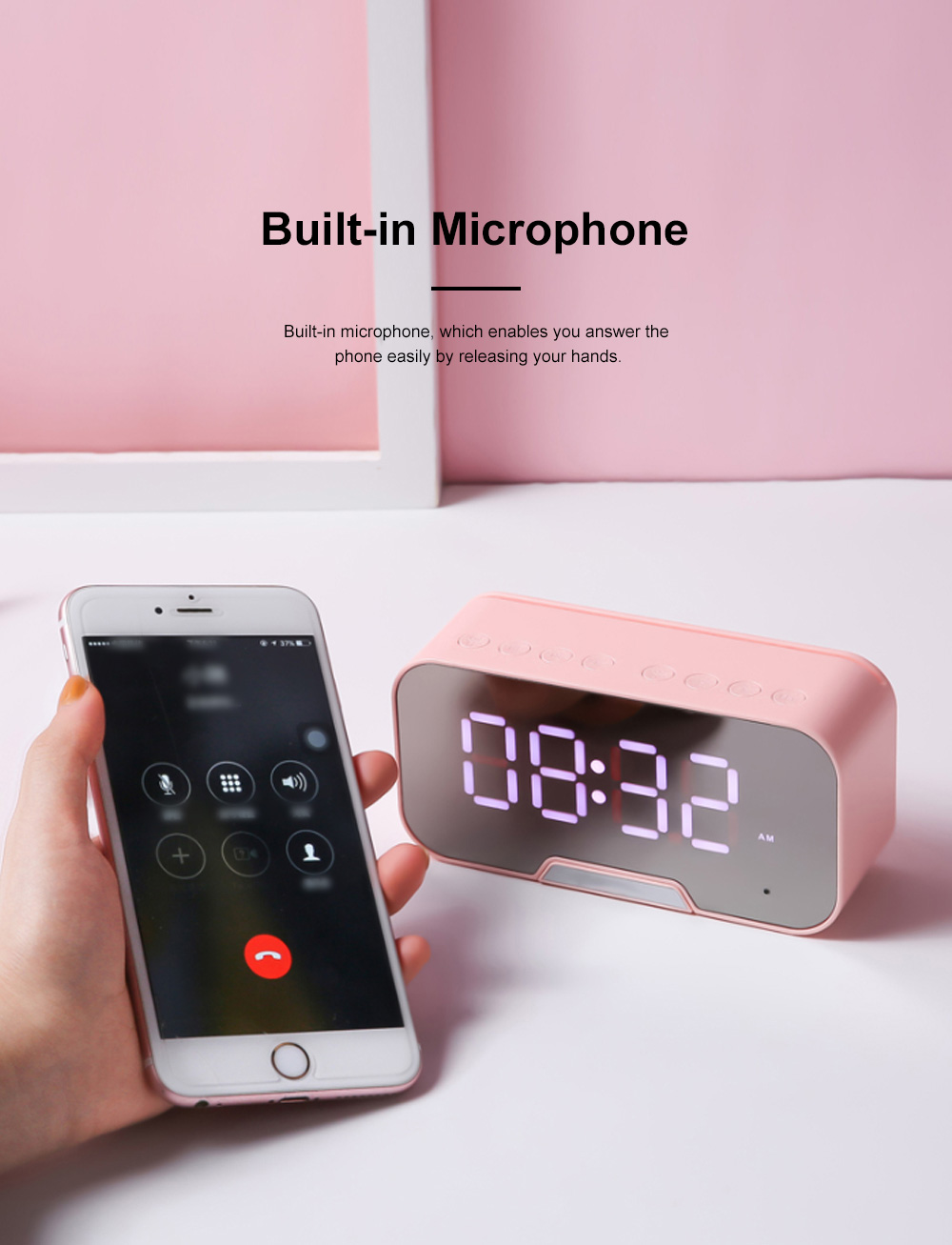 Bluetooth Speakers Alarm Clock Radio with Dual Alarms and 3 Level Brightness Adjustment and Stereo Sound 6