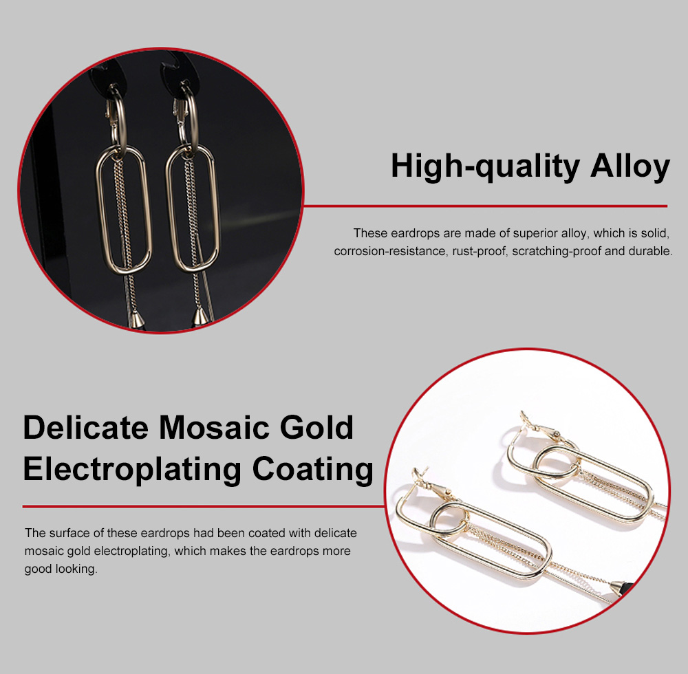 CAROMAY Minimalist Vintage Elegant Tassel Hollow Model Earrings Eardrops with Synthetic Crystal Decoration Delicate Electroplating Coating 4