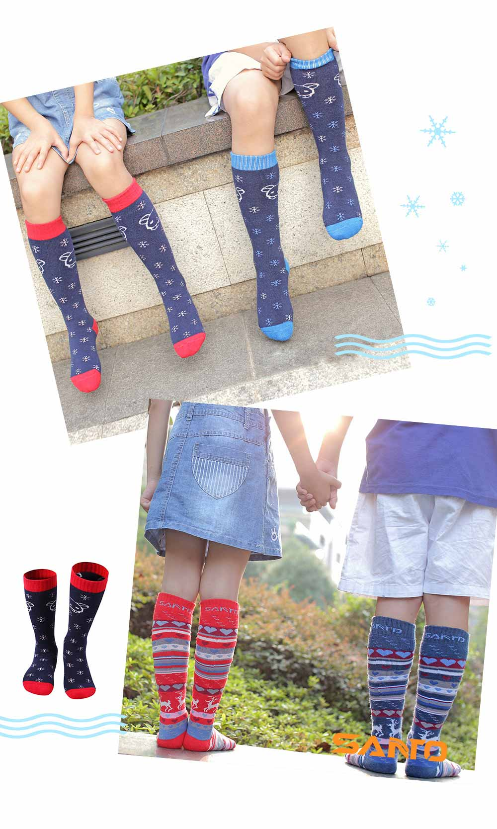SANTO Ski Socks for Winter Outdoor Activities Thickened Cotton Socks Kids' Lightweight Thermal Socks Odor Resistant Socks 2